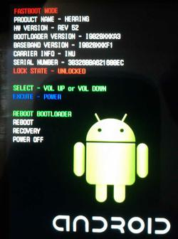 Unlocked android bootloader screen