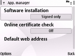 E63 app manager settings before for installing ssh