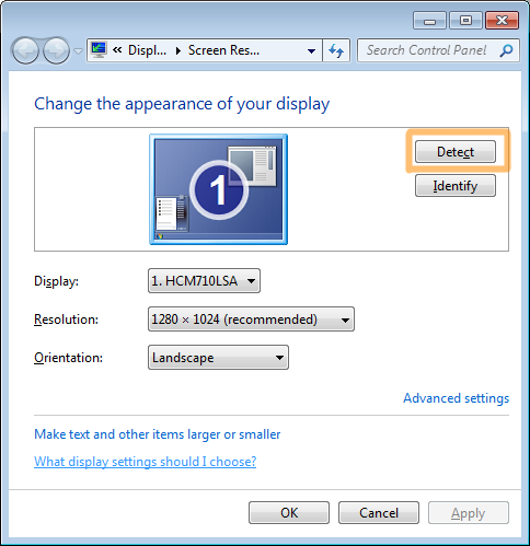 HDMI display settings on Windows