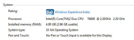 Installed and Usable Memory Different on Windows 7