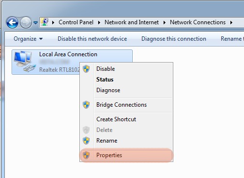 Network connections windows 7