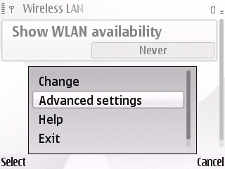Nokia E Series wireless advanced settings