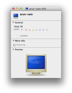 Apple mac OS X, preview of a PC