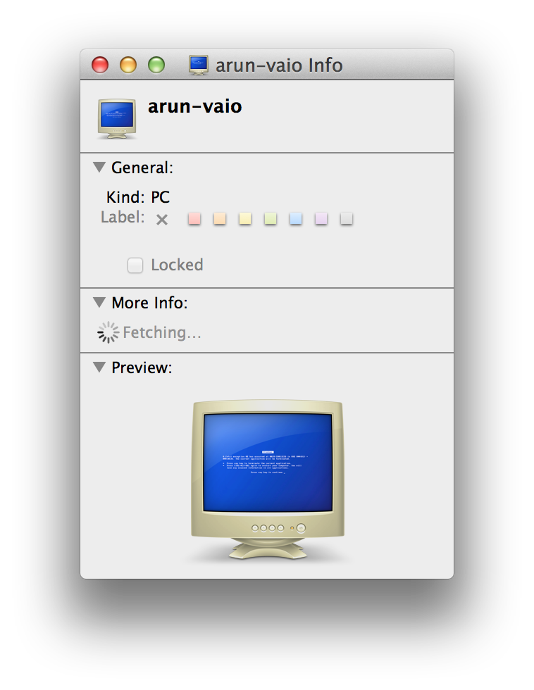 The PC preview on a MAC OS X