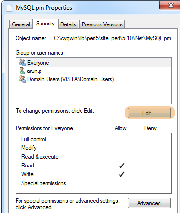 Security Tab Solve Write Permission Denied
