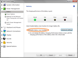 Enable battery care function on Sony Vaio