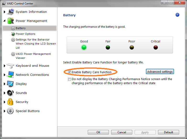 Battery care function sony vaio